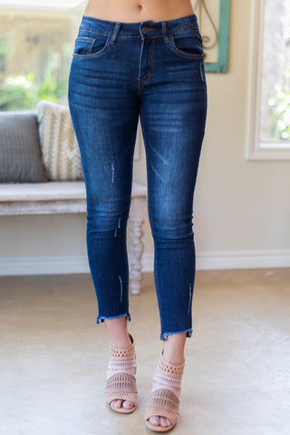 Along For The Ride Distressed Ankle Skinny Jeans in Dark Wash