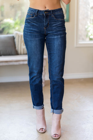 Just A Girl Boyfriend Jeans in Dark Wash