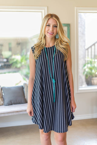 Live For This Sleeveless Dress in Black Pin Stripe