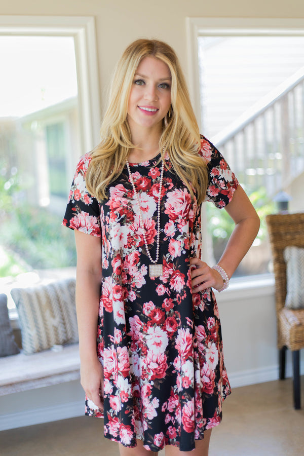 Simplicity is Key Short Sleeve Tee Shirt Dress in Floral