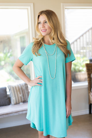 Simplicity is Key Short Sleeve Tee Shirt Dress in Mint
