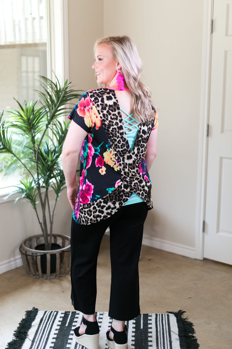 Got Your Back Neon Floral Short Sleeve Top with Leopard Print Open Back