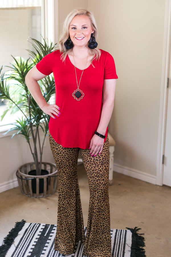Here Again Stretchy Flare Bell Bottom Pants in Leopard