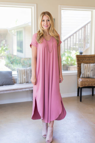 Simple Love Tee Shirt Maxi Dress in Dusty Rose