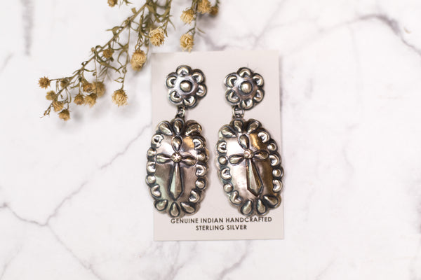 Tim Yazzie | Genuine Sterling Silver Flower Concho Post Stud and Dangle Earrings with Cross