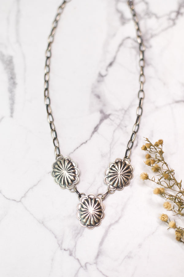 Navajo | Sterling Silver Chain Necklace with Sterling Conchos
