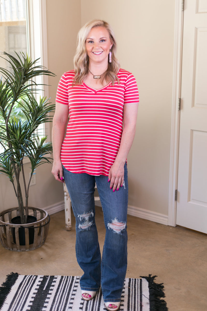 Simply The Best Striped V Neck Short Sleeve Tee Shirt in Coral Pink
