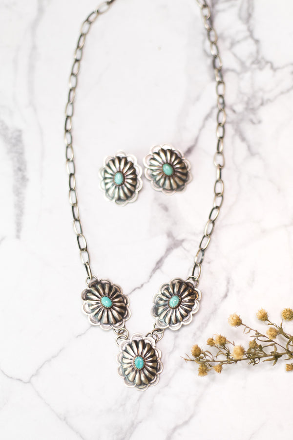 Navajo | Sterling Silver Chain Necklace with Sterling Conchos and Turquoise Cabochon