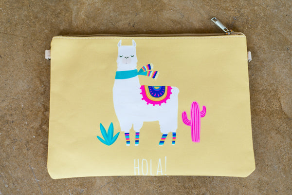 Something New Wristlet or Crossbody Hola Llama Purse in Yellow