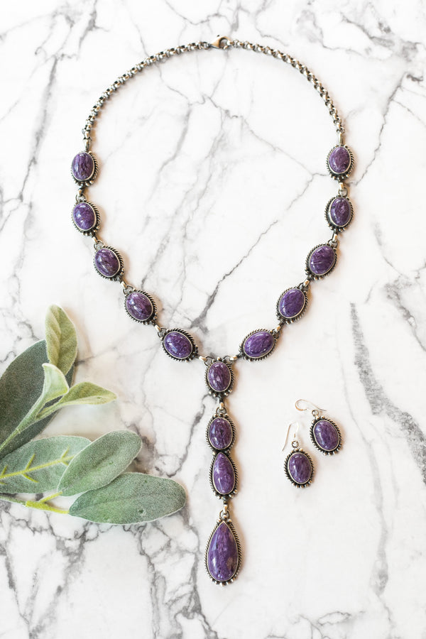 Marie Bahe | Handmade Navajo Sterling Silver & Charoite Lariat Necklace + Matching Earrings