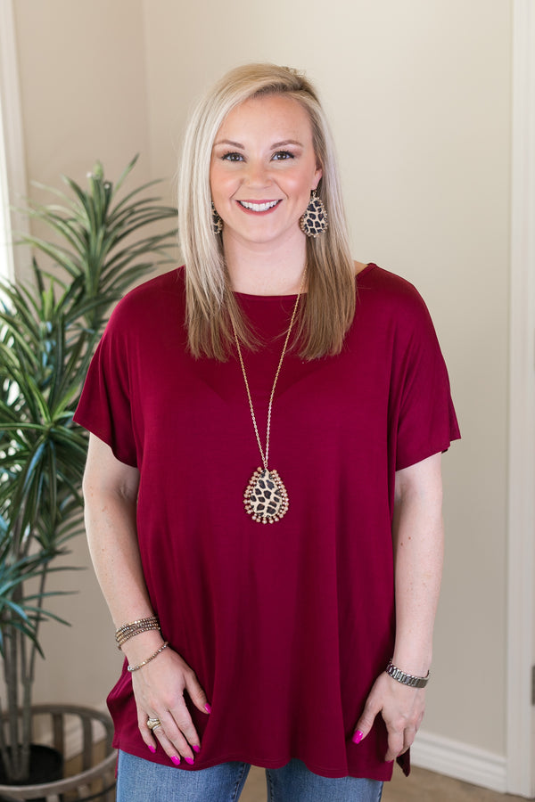 Everyday Basics Drop Sleeve Solid Piko Top in Maroon
