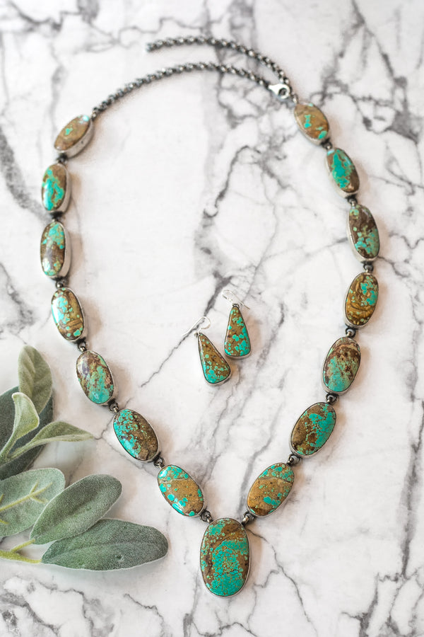 Alfred Martinez | Large Number 8 Turquoise Statement Necklace + Matching Earrings