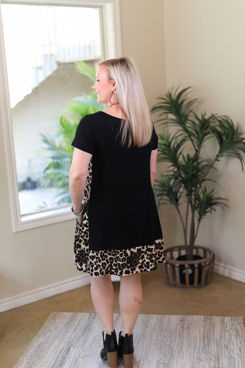 It's My Way Solid Dress with Leopard Print Trim in Black