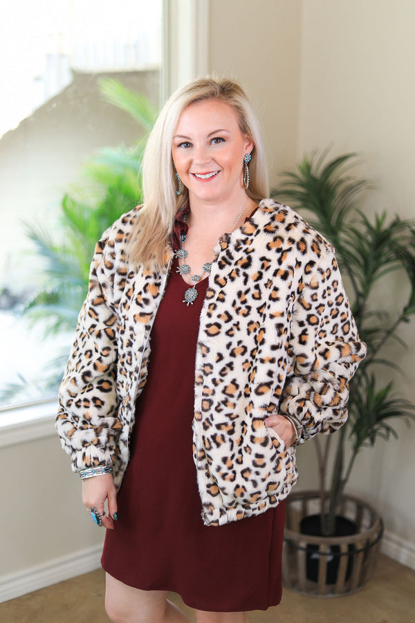 On The Chase Faux Leopard Print Jacket in Ivory