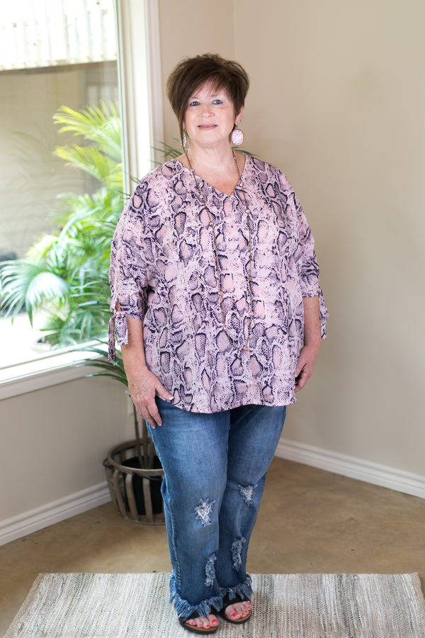 Plus Size | Gone Wild Snakeskin Poncho Top with Tie Details in Pink