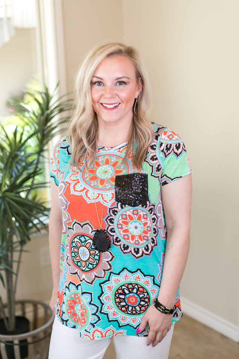 Take A Glisten Geometric Floral Print Top with Sequin Pocket in Turquoise