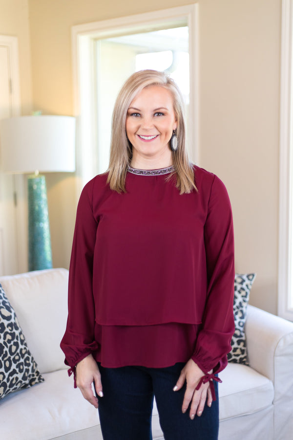 Glimmer in the Night Blouse with Beaded Neckline in Maroon