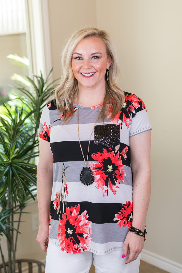 Take A Glisten Floral Stripe Top with Sequin Pocket in Black