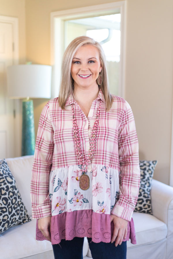WEEKEND SPECIAL | Feelings For Fall Floral and Plaid Button Up Top in Mauve Pink