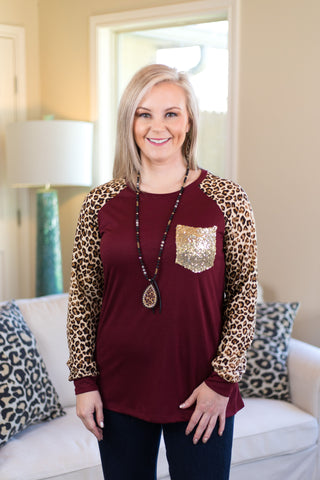 Always the Same Top with Leopard Sleeves and Sequin Pocket in Maroon