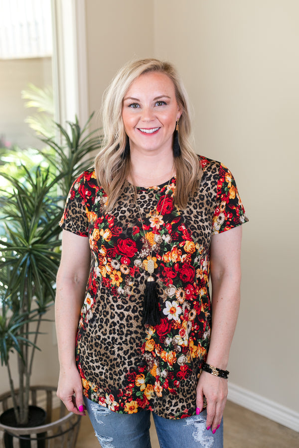 All In Leopard & Floral Mixed Print Short Sleeve Top in Brown
