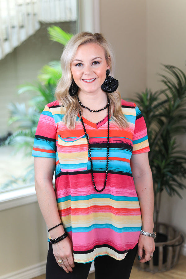 Just Right Short Sleeve Serape Print Pocket Tee in Hot Pink & Jade