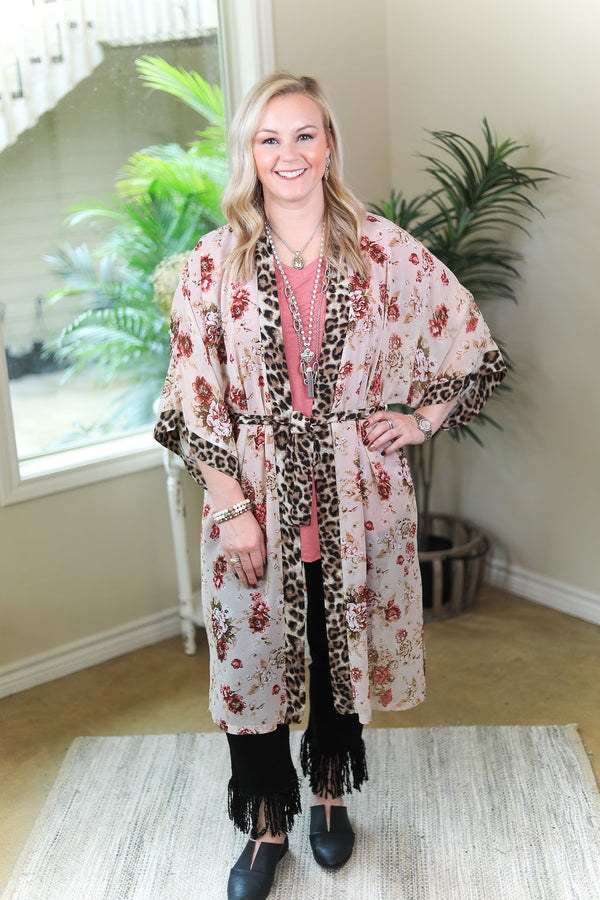 On My Mind Sheer Floral Print Kimono with Leopard Print Trim in Ivory