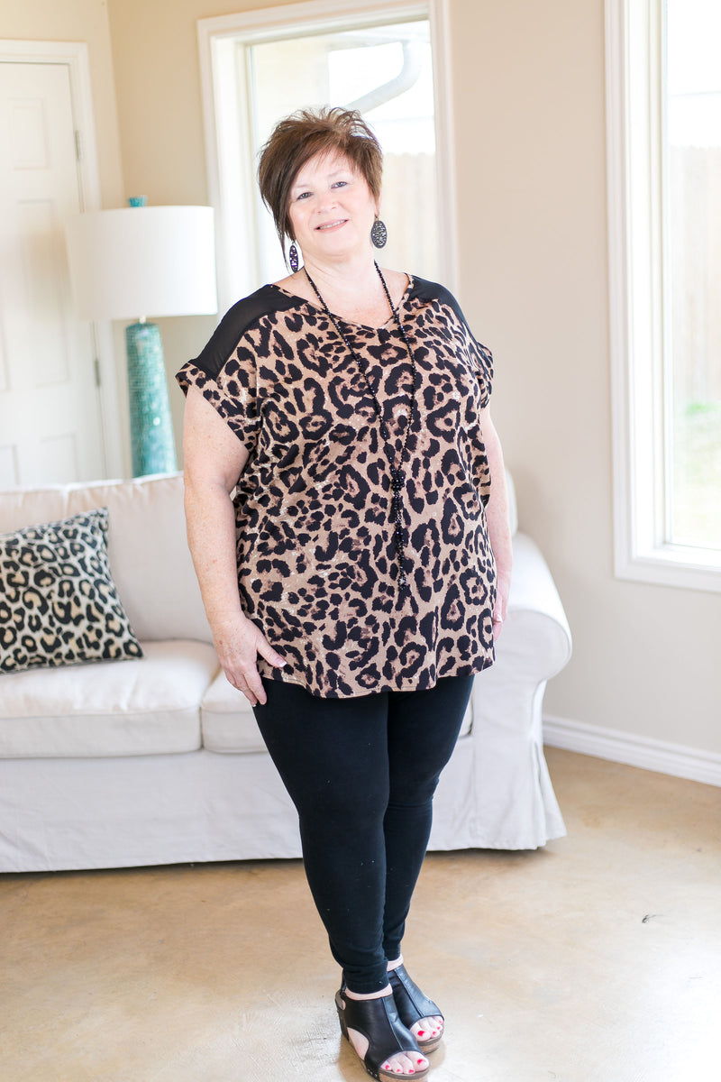 On The Loose Leopard Print Top with Mesh Detailing in Camel Brown