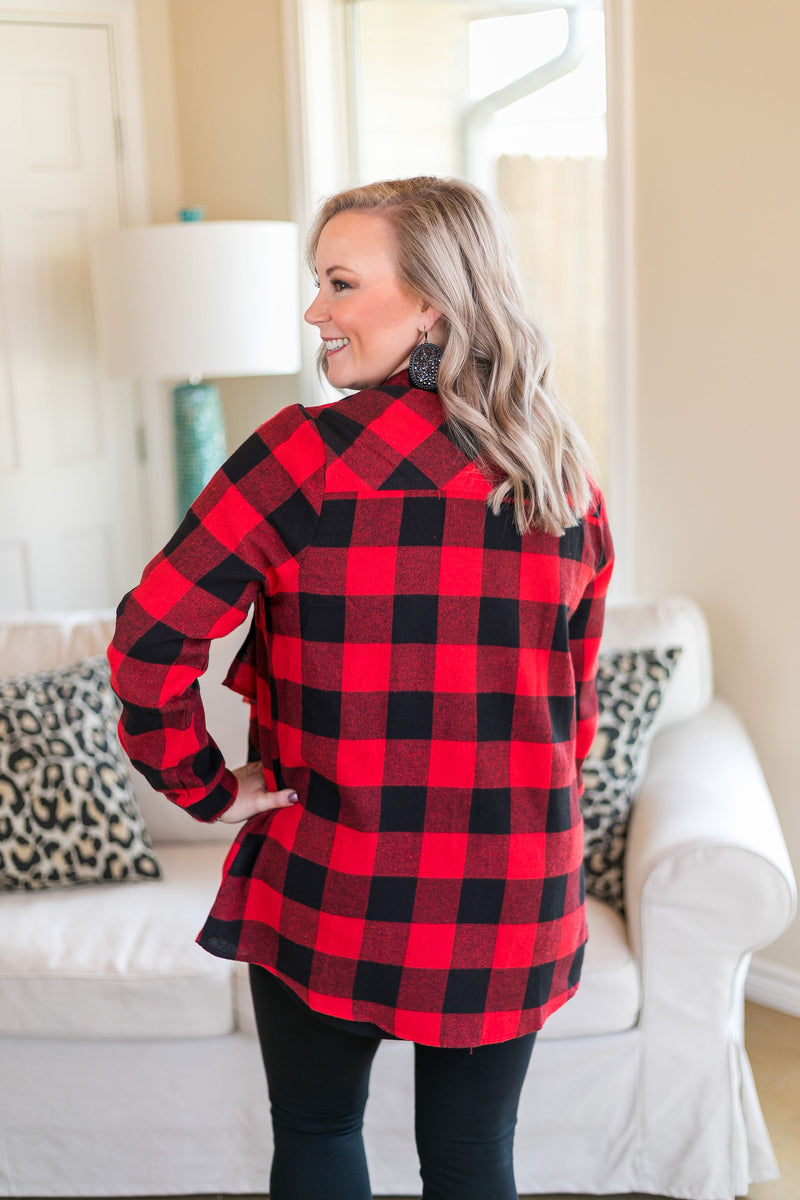 Plaid To Meet You Buffalo Plaid Cardigan in Red