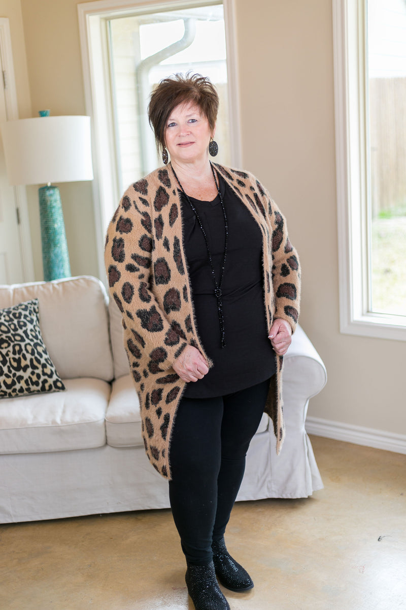 Cozy Chic Leopard Eyelash Cardigan in Camel