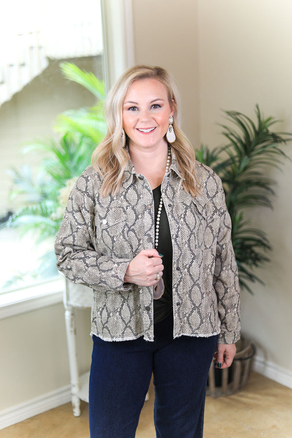 Dangerously Chic Snakeskin Jacket with Raw Hemline in Brown