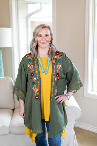 No Need To Think Floral Embroidered Kimono in Olive Green