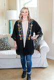 No Need To Think Floral Embroidered Kimono in Black