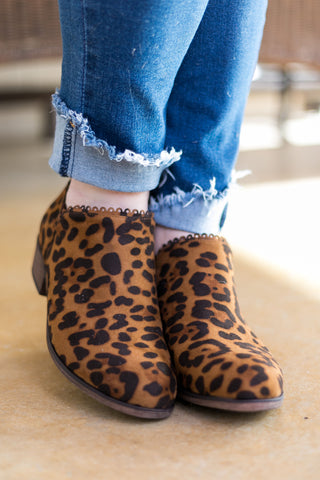 The Wild Life Scalloped Booties in Leopard