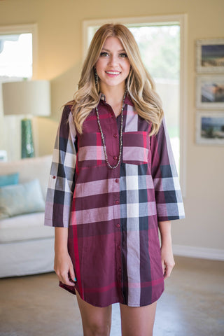 Always On Your Mind Plaid Button Up Dress in Maroon