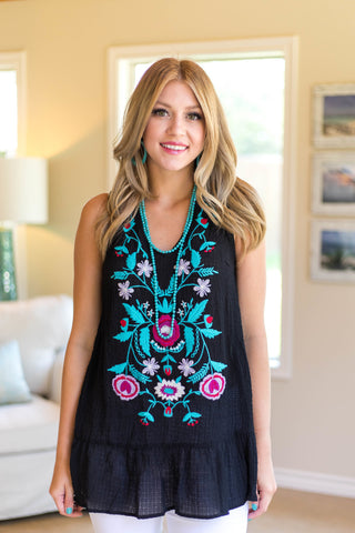 Sweet Little Thing Sleeveless Floral Embroidery Top in Black