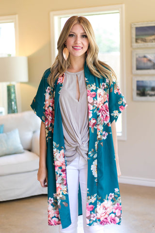 On Another Level Floral Kimono in Teal