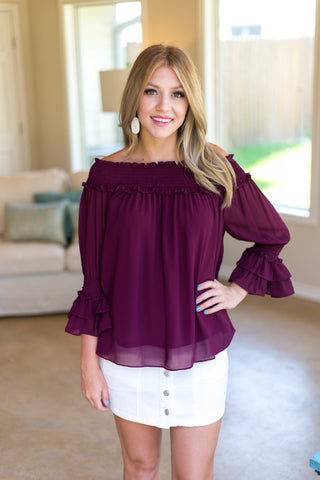Come To Your Senses Off Shoulder Blouse in Maroon