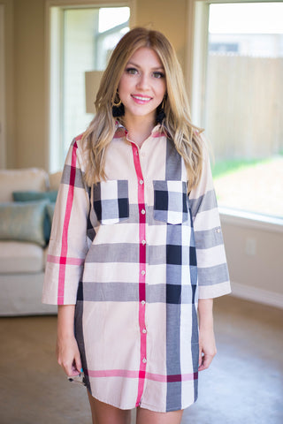Always On Your Mind Plaid Button Up Dress in Tan