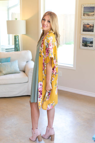 On Another Level Floral Kimono in Mustard Yellow