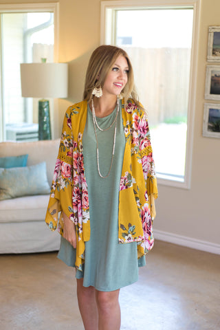 Floral of the Story Kimono in Mustard Yellow