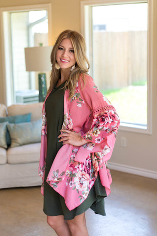 Floral of the Story Kimono in Coral