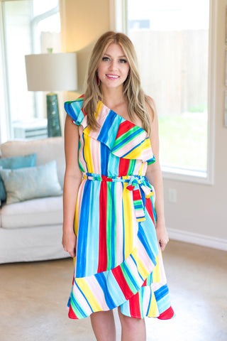 World of Color Multi Color One Shoulder Dress