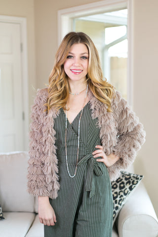 All Shook Up Fuzzy Faux Fur Jacket in Tan