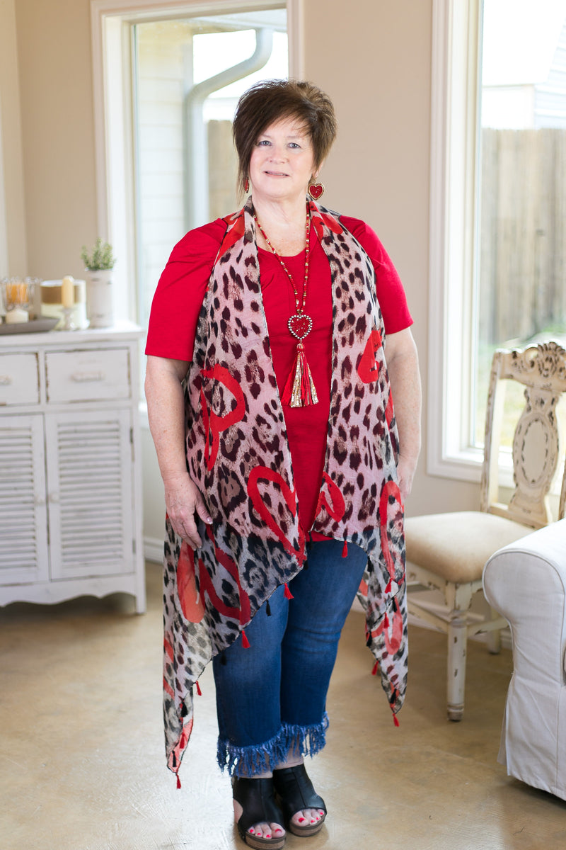 Roaring Hearts Leopard Print Sheer Vest with Hearts in Red