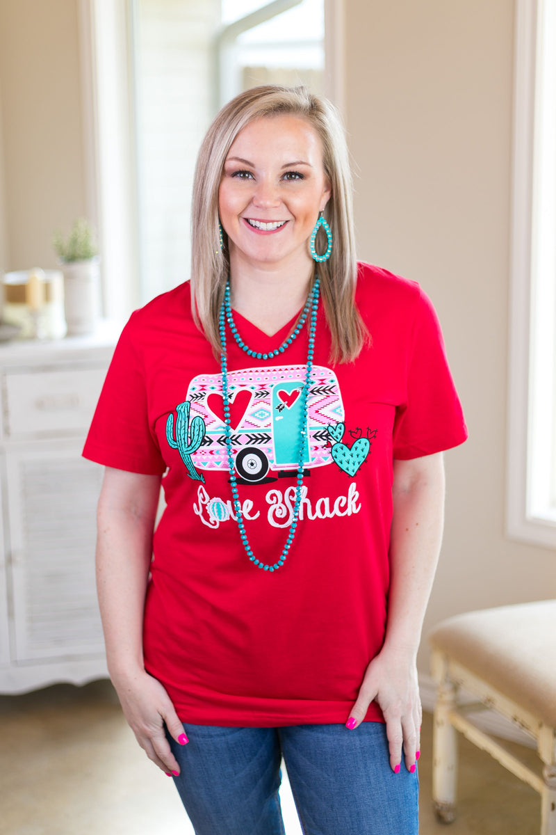 Love Shack Camper Short Sleeve Tee Shirt in Red