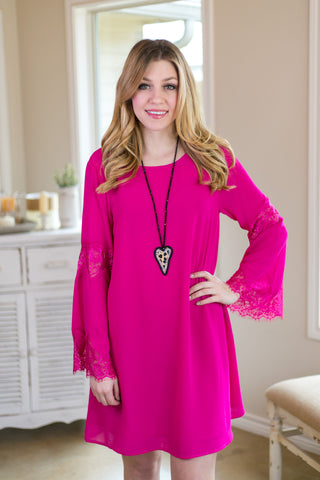 Pretty and Poised Lace Bell Sleeve Shift Dress in Fuchsia