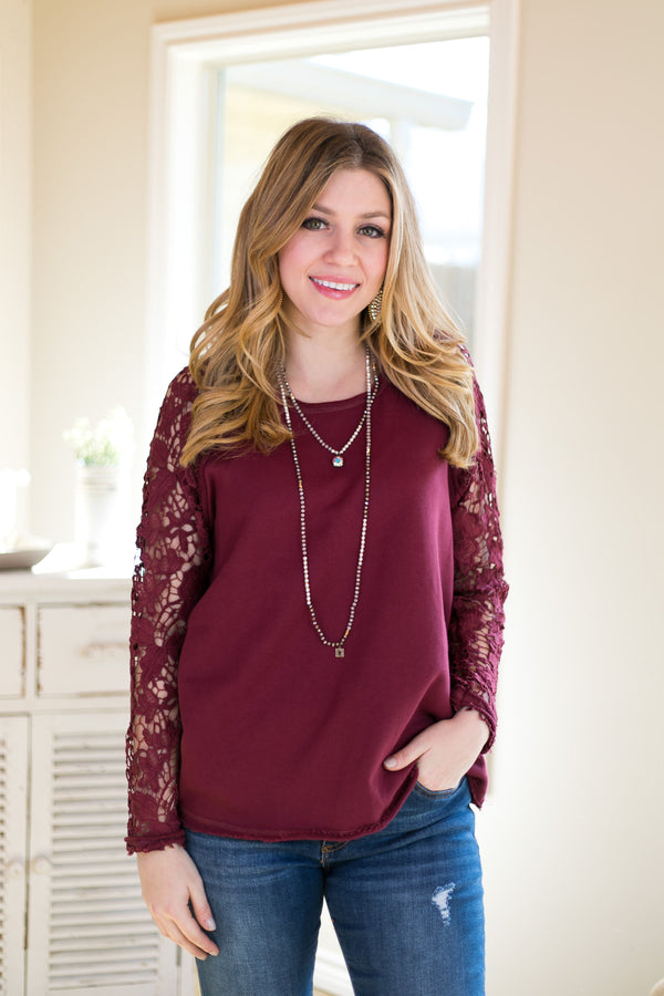 All Wired Up Lace Sleeve Sweater in Maroon