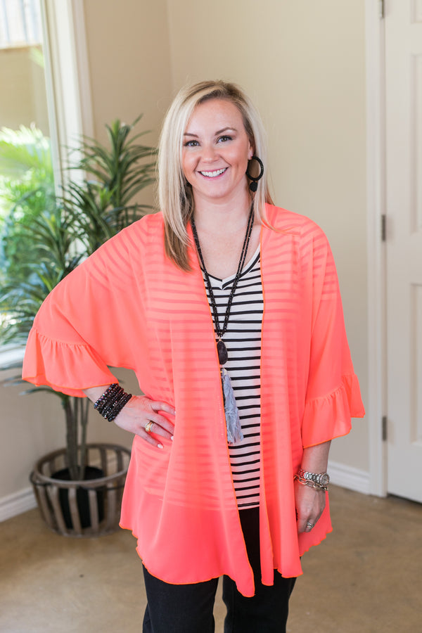Tell Me About It Sheer Kimono with Ruffle Sleeves in Neon Coral
