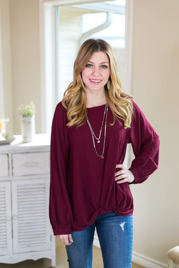 Knot At All Long Sleeve Blouse with Gathered Waist in Maroon